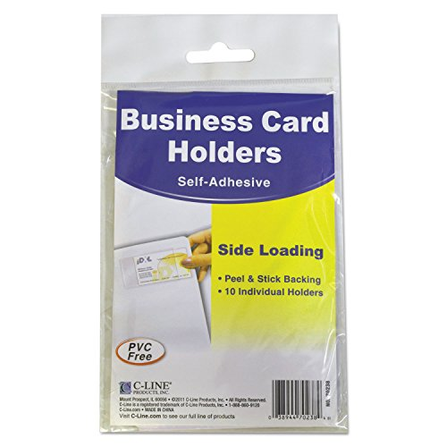C-Line 70238 Self-Adhesive Business Card Holders, Side Load, 3 1/2 x 2, Clear, 10/Pack