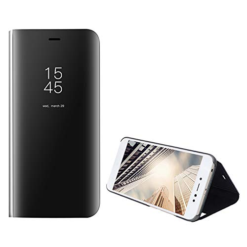 Tearl Estuche para Samsung Galaxy S20 Ultra 5G Carcasa Transparente Espejo Estuche Chapado Flip Stand Carcasa PC Estuche rígido de protección Estuche de cuero (Negro)