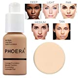 Flawless Matte Liquid Foundation Concealer, Long Lasting Waterproof Matte Concealer Cream Foundation Moisturizing Base Cover Cream, Oil Control Facial Blemish Concealer (PHOERA Nude #2)