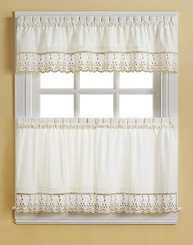 CHF Abby Solid White Embroidered Window Kitchen Curtain Tier Pair, Rod Pocket, 30W x 36L inch, Taupe