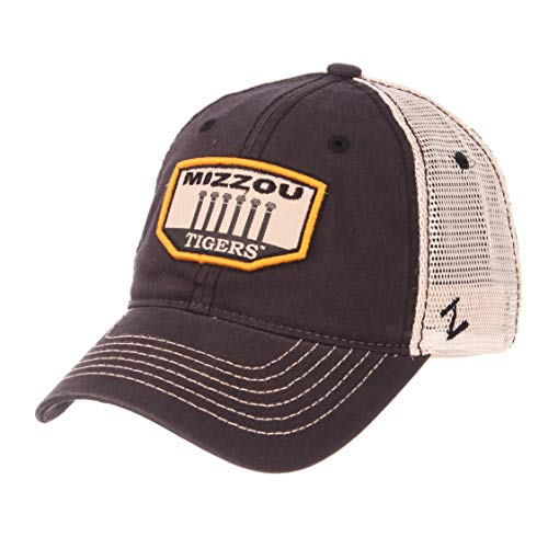 Zephyr NCAA Missouri Tigers Men's Trademark Relaxed Cap, Adjustable, Washed Team/White