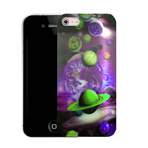 Mobile Case Mate IPhone 4 clip on Silicone Coque couverture case cover Pare-chocs + STYLET - planet pattern (SILICON)