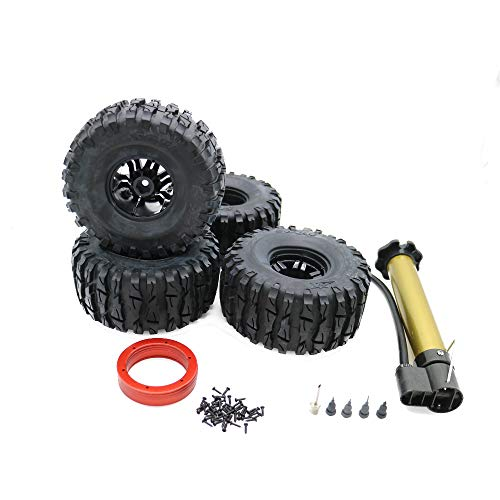RCAWD Air-Filled Inflatable Inflated 2.2 Bead Lock Wheel Tire Dragon Claw Tread for 1:10 Rock Crawler Monster Truck 4Pcs(Red)