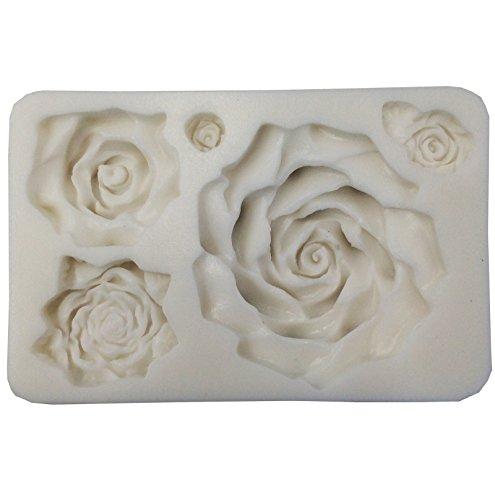 Funshowcase Large 5 Assorted Sizes Roses Resin Fondant Candy Silicone Mold for (Large Roses)