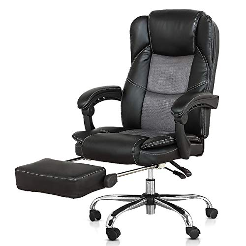 Companion Arm Guest Chair - B2C2B Ergonomic Reclining Office Chair High Back Napping Desk Chair Computer Chair Leather Chair with Footrest Large Seat and Lumbar Support 300lbs Black