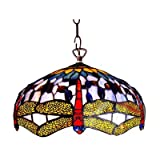 CHLOE Lighting CH1049DB18-DH2 Tiffany-style Dragonfly 2-Light Ceiling Pendant Fixture with 18-Inch Shade