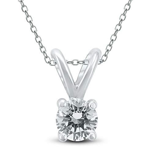 (1/4 Carat (J-K Color, VS1-VS2 Clarity) AGS Certified Round Diamond Solitaire Pendant in 14K White Gold)