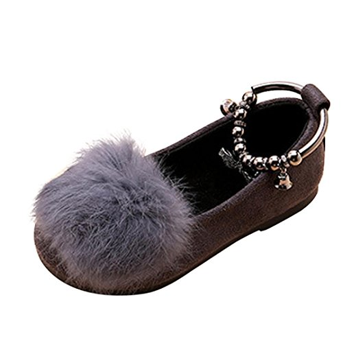 Janly Nette Kleinkind-Bogen-Baby-Plüsch-weiche alleinige rutschfeste warme Samt-Schnee-Schuhe Grau