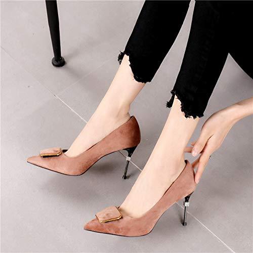 Thirty single shoes buttons four shallow suede Temperament shoes LBTSQ fashion 7cm qzapwA