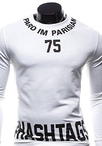 Sweatshirt Bolf Mix Crew Printed Men's Neck Sport 7321 1a1 White vPPTSxq