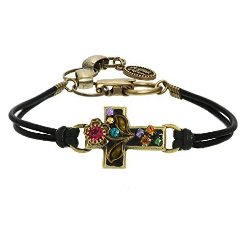 Midnight Garden Christian Cross Bracelet by Michal Golan. A 24K Gold Plated Setting and Comfortable Adjustable Black Leather Strap. Embedded with Crystals and a Floral Motif. - Crystal Motif Bracelet