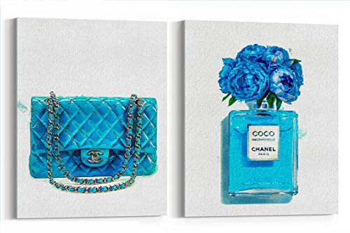 Prada Bag Gucci Shoes - Wall Art Poster Print Glam Decor - Blue Bag and Famous Perfume - FASHION- Blues Print Poster - Pop Art- Watercolor- on Canvas 1006 1007