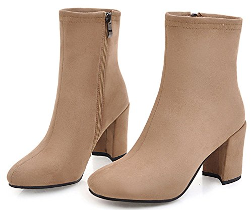 Easemax Women's Fashion Faux Suede Zip Up Round Toe High Chunky Heel Short Ankle High Boots apricot TYWKsIQ