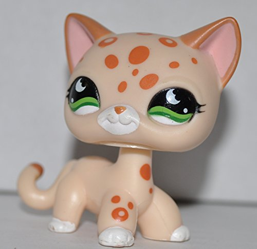 Leopard #853 (Shorthair Kitten Mold, Cream, Brown Spots, Green Eyes) - Littlest Pet Shop (Retired) Collector Toy - LPS Collectible Replacement Single Figure - Loose (OOP Out of Package & Print)