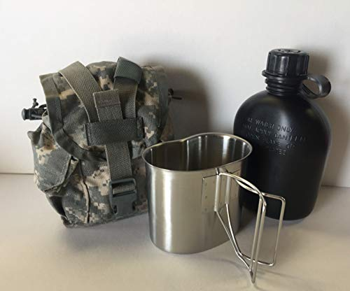 G.A.K 90026 G.I. TYPE, U.S Made 1 QT Canteen With New Stainless Steel Cup & G.I. Military ACU MOLLE II Pouch KIT.(BLACK)
