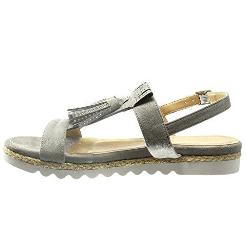 Angkorly - Zapatillas de Moda Sandalias alpargatas abierto mujer fleco strass Talón Plataforma 2 CM - Gris