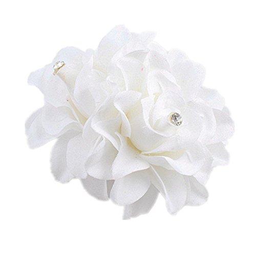 (Ecurson Beautiful Flower Hair Pin Clip Pin Hairband Bridal Wedding Party For Women (White))