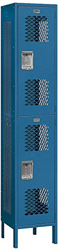 Salsbury Industries 82165BL-U Double Tier 15-Inch Wide 6-Feet High 15-Inch Deep Unassembled Extra Wide Vented Metal Locker, Blue