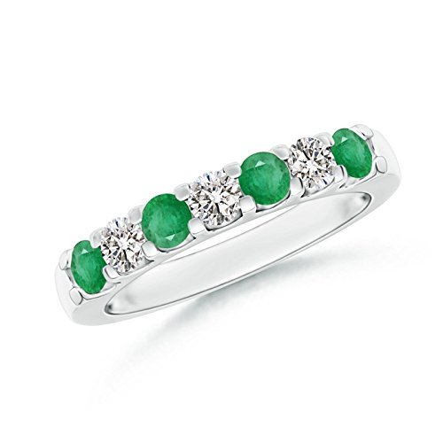 Shared Prong Emerald and Diamond Half Eternity Band in Platinum (3.1mm Emerald)