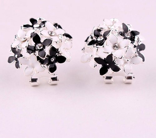 Ring Flower Fashion Rhinestone (Women Korean Style Elegant Flower Rhinestone Ear Studs Earrings Fashion Jewelry 01)