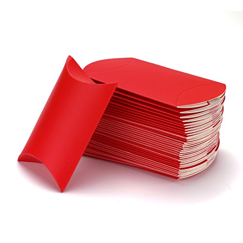 (Vlovelife Red Paper Pillow Favor Gift Box Wedding Party Favour Anti-Scratch Gift Candy Box Pack Of 100)