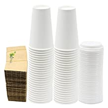Durable White Paper Hot Coffee Cups with Cappuccino Lids and Protective Corrugated Cup Sleeves, Qty of 50 (16 Ounce) by Yes!fresh
