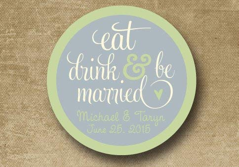 Personalized Wedding Stickers Custom Wedding Labels Wedding Favor Stickers Eat Drink Be Married Stickers Buffet Stickers Envelope Seals