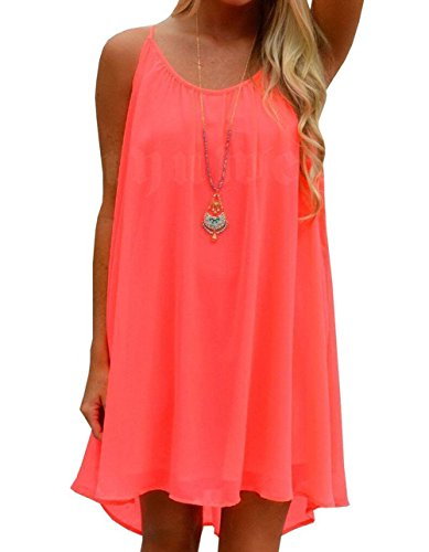 [Yidarton Womens Summer Casual Sleeveless Evening Party Beach Dress Neon Coral Small] (Neon Party Dresses)