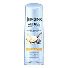 """""""  Description   Give your skin the moisture it needs when it wants it most - right after you shower. Jergens Wet Skin Body Moisturizer with Enriching Shea Oil was specially developed to be applied directly to wet, freshly cleansed skin, whic..."""