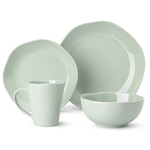 LE TAUCI 4 Piece Glaze Dish Dinnerware Set Place Setting Service One Person,Grey (Dinnerware Set One Place Setting)