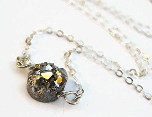 Handmade Aura Quartz Crystal Necklace W 18 Inch Silver Chain