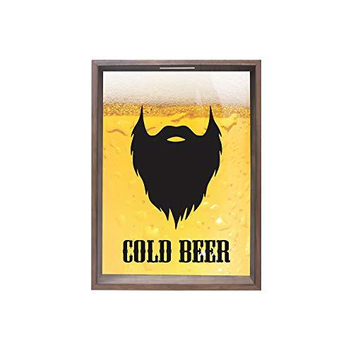 Quadro com Vd Porta-Tampinhas Cold Beer  Kapos Madeira 38X53Cm
