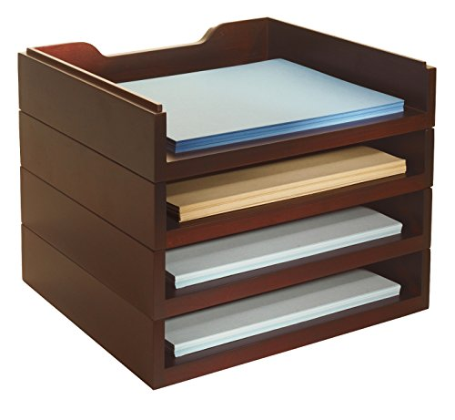 Wood Stacking Letter - Bindertek Stacking Wood Desk Organizers with 4 Letter Tray Kit, Mahogany (WK6-MA)