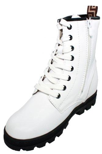 Calden-M109-7,6cm Grande Taille-Hauteur Augmenter Chaussures Bottes à lacets (Blanc)-Femmes