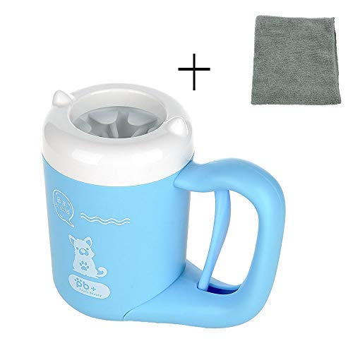 AdoggyGo Dog Paw Cleaner Feet Washer Muddy Paw Cleaner Cup for Dogs Cats Puppy Silicone Dog Feet Cleaner with Towel (Blue)