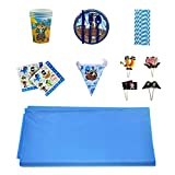 VOVI Party Decoration Table Layout Set with Blue Boy Sea Rover Shape Tablecloth Child Birthday Theme Paper Cups Plates Disposable Party Supplies Set Tableware Favors Set 8 People