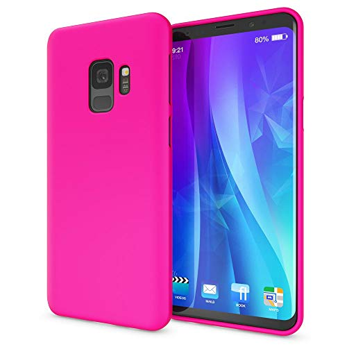 NALIA Case Compatible with Samsung Galaxy S9, Phone Cover Ultra-Thin TPU Neon Silicone Back Protector Rubber Soft Skin, Protective Shockproof Slim Gel Bumper Smartphone Back-Case, Color:Pink