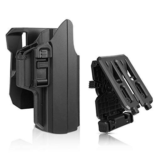 Universal OWB Holster fits Glock 17 19 19X 45 , S&W M&P Compact, S&W M&P 9MM., H&K USP, Springfield XD, Beretta 92fs, Sig P320 Full Size Pistols, 360° Adjusting Cant (OWB Holster with Three Options) ()