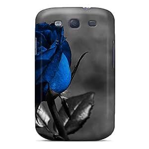 New Blue Rose Tpu Case Cover, Anti-scratch LCd7890aiCh Phone Case For Galaxy S3