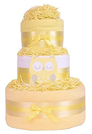 Trendy Owl 3 Tier Baby Shower Nappy Cake Gift Unisex Yellow Gift