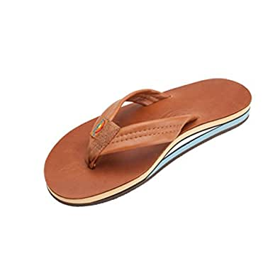 Rainbow Double Layer Classic Leather with Arch Support Men's Sandal Flip Flops Footwear - Classic Tan Blue / Size Small (7.5-8.5 US)