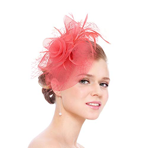 2c93665ad5aca Fascinators for Women Tea Party Hat Kentucky Derby Hat and Flower Mesh Hair  Clip and Headband