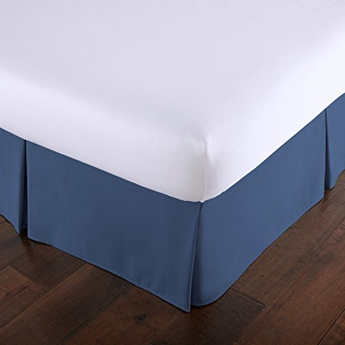 Southshore Fine Linens - VILANO Springs - 15 inch Drop Pleated Bed Skirt, Dark Blue, Queen (Blue Bed Skirts)