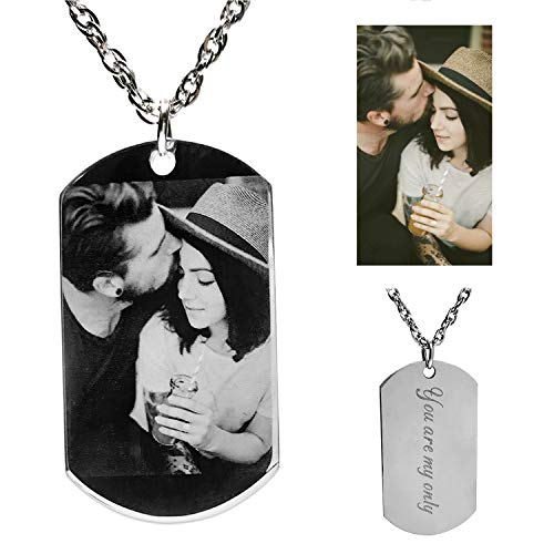 Civbalen Personalized Photo Text Dogtags Custom Picture Necklace Message Pendant Customized Christmas Birthday Gift