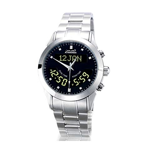 Al Harameen Adhan Qiblah Compass Stainless Steel Silver Watch (Black) (Triple Folding Clasp)