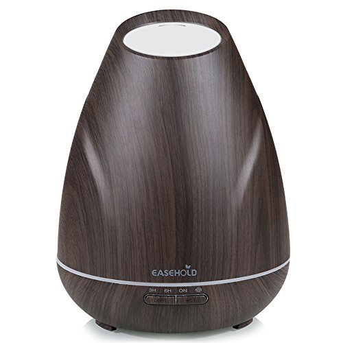 Easehold Aromatherapy Essential Oil Diffuser ,400ml Ultrasonic Humidifier 20H Intermittent Mist 4 Timer 7 Mood Light for Home Office ,Dark Wood Grain