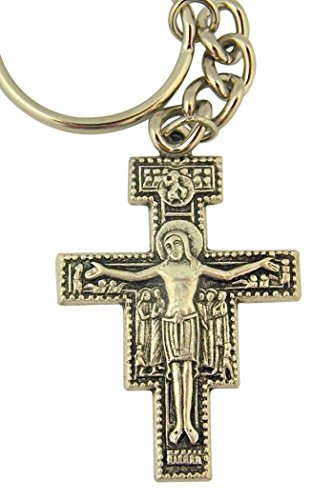 (Religious Gifts Silver Tone the Cross of Saint Francis San Damiano Crucifix Key Chain, 2 Inch)