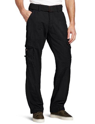 Akademiks Men's Montana Belted Cargo Pant, Navy, 32x30 -