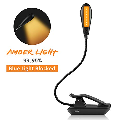 Amber Book Light for Reading in Bed | Clip On Reading Light to Benefit Sleep and Help Eyes | Portable Light for Reading | Book Accessories for Bookworms | Book Light for Kids