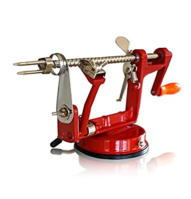 CAST IRON APPLE PEELER by Purelite ? Professional Grade Durable Heavy Duty Cast Iron Apple Slicing Coring and Peeling Machine ? Razor Sharp Stainless Steel Blades and Chrome Plated Parts ? eBook Included